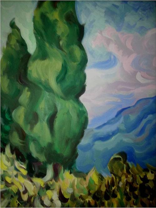 """""""Cipressi"""" (1992/95); olio su tela,"""