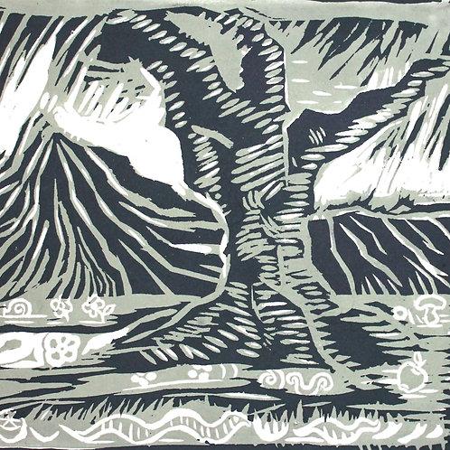 Ulivo, fungo, mela e lumaca (1995/96), xilografia, 33 x 30 cm