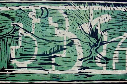 Paesaggio lunare (1996); xilografia, 35x50 cm