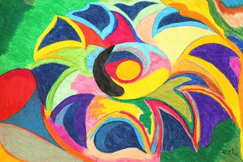 """""""Fiore tropicale"""" (2014); Pastelli ad olio su carta,60x90 cm"""
