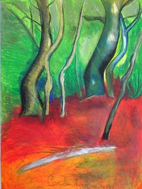 La pineta (01/2008); pastelli ad olio su carta, 70x50 cm