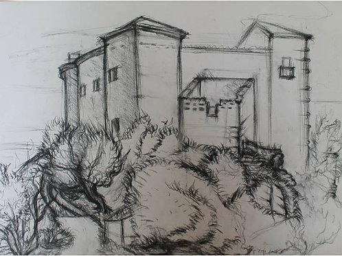 Il Castello di Montegiordano (1993?); carboncino su carta 50x70 cm