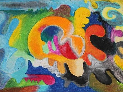 Felicità (2008); pastelli ad olio su carta, 50x70 cm