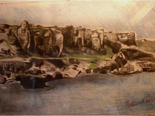 """Favignana"" (2004/05); tecnica mista su carta, 100x70 cm"