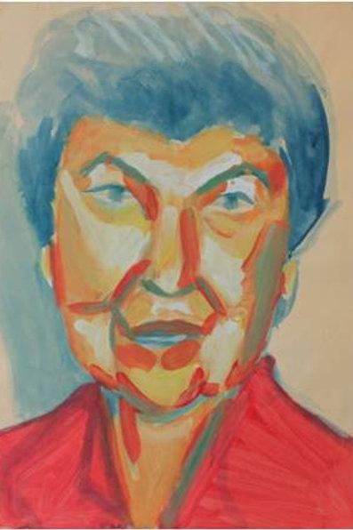 Donna anziana, (1993); acrilico su carta, 48x33 cm
