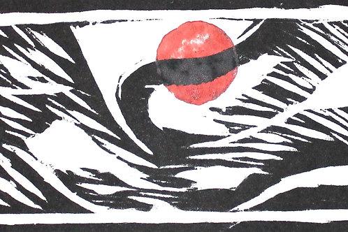 """occhio, luna rossa, albero"" (1995/96), xilografia, 120 x 50 cm"