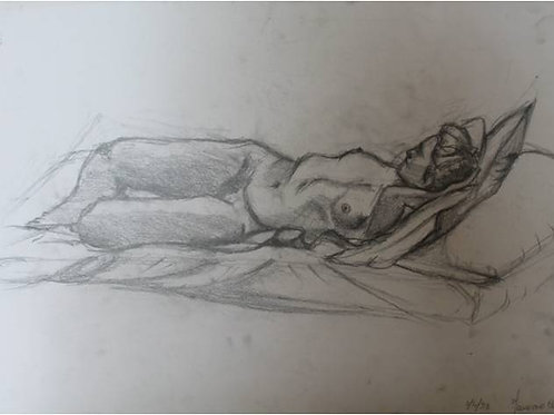 """Donna sdraiata"" (1993), 35x50 cm, carboncino su carta"