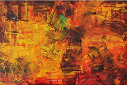 """""""Intruso verde"""" (1995/1997); olio su tela 60x30 cm"""