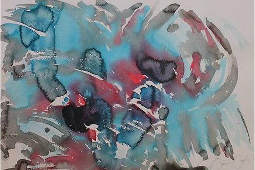 """Nuvola"" (2008); acrilico su carta, 50x70 cm"