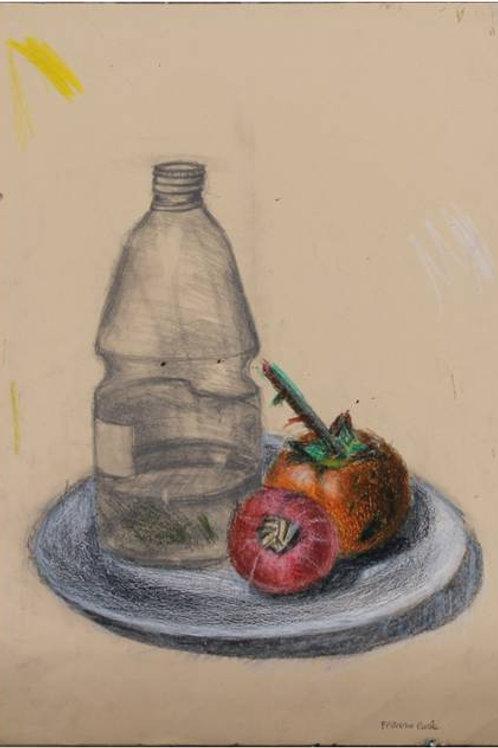 """""""Natura morta con cachi"""", grafite e pastelli a cera su carta,35x50 cm"""
