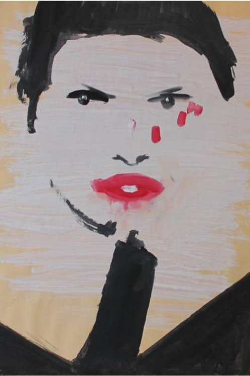 """Bugie"", 1993, acrilico su carta, 48x33 cm"