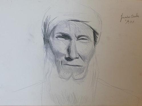 Vecchio beduino (1993); carboncino su carta, 50x35 cm