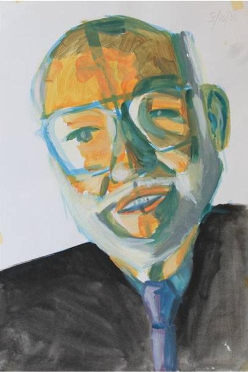 Uomo anziano(1993); acrilico su carta, m 48x33 cm