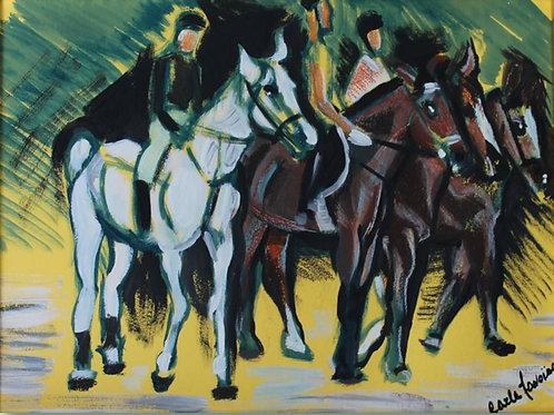 """""""Saggio ippico"""" (1997); acrilico su carta, 50x35 cm"""