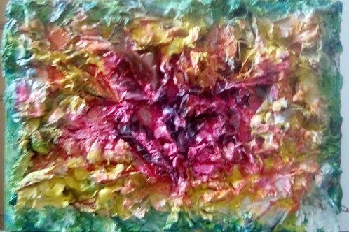 Fiore di carta, cartapesta su tavola, 21x30 cm