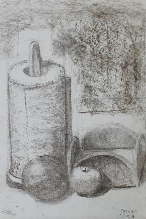 """""""Natura morta con scottex"""" (1993); carboncino su carta, m 48x33"""