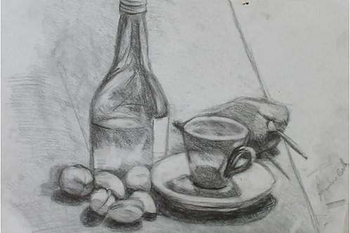 Natura morta con noci e peperone (1993); carboncino su carta, 48x33 cm
