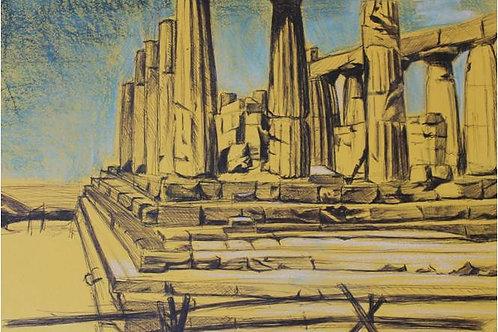 """""""Partenone"""" (1997); tecnica mista su carta , 35x50"""