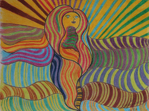 La donna del sole (06/17); pastelli ad olio su carta, 22x28 cm