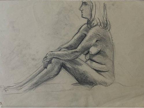 """Donna seduta"" (1993); carboncino su carta, m 48x33"