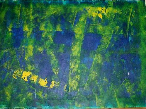 Intrecci (2008); acrilico su carta, 50x70 cm