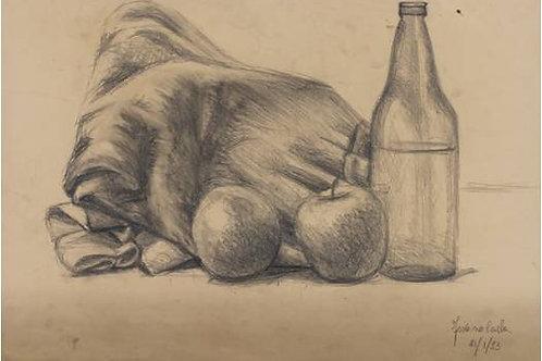 Natura morta con bottiglia (1993); carboncino su carta 50x35 cm