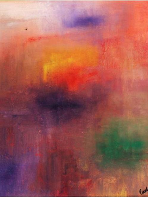 """""""Alba sul mare"""" (1995/96); olio su tela, 50x60"""