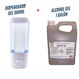 Dispensador gel 500ml + Alcohol Gel Galón