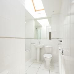 White Bathroom with skylight