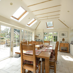 Dining room with skylights