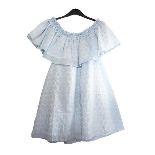 MyBerry Blue Flower Sabrina Dress