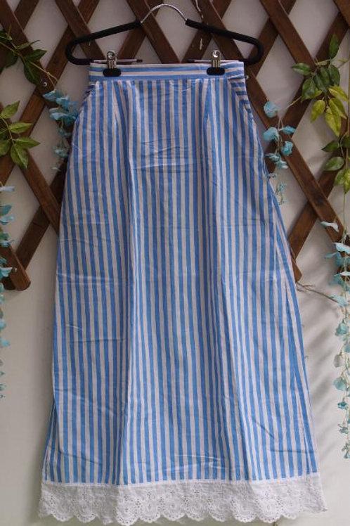 Blue & White Stripe Maxi Skirt
