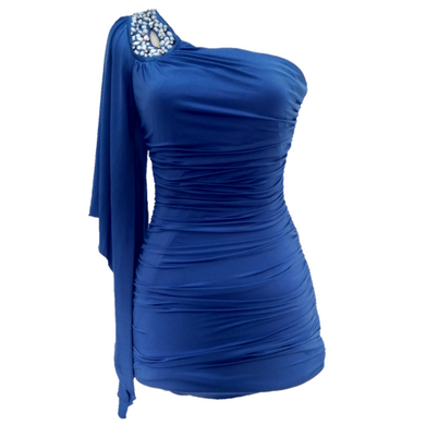 Blue Bodycon One Shoulder Dress