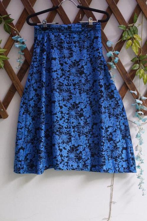 Blue Flower Midi Skirt
