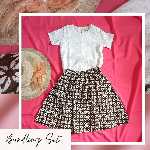 Set Spigola White Lace Shirt x Batik Skirt