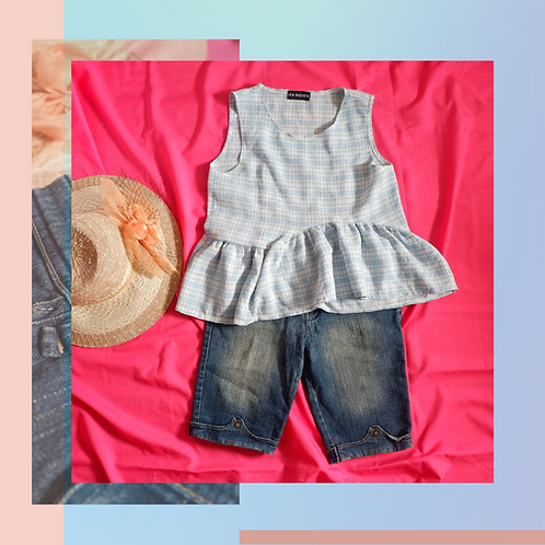 Set Les Riches Blue Ruffle Top x Ebe Short Jeans