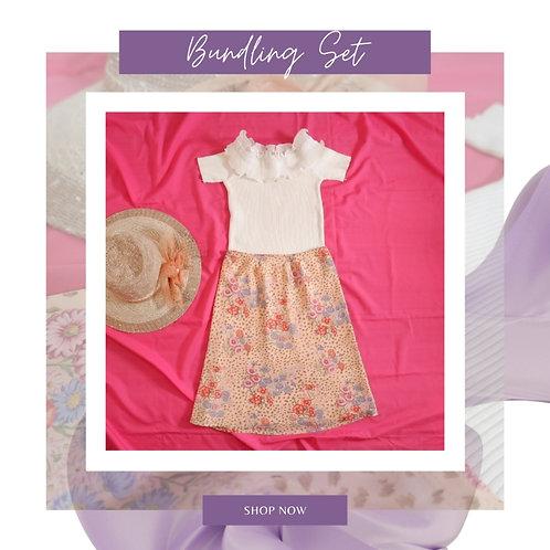 Set White Ruffle Blouse x Flower Sifon Skirt