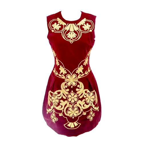Red Beludru dress bordir