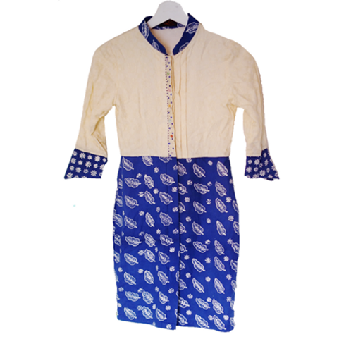 Longsleeve Kid Dress - White & Blue
