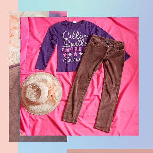 Set Original GapKids Brown Beludru Pant x Graphics Purple Kids Shirt