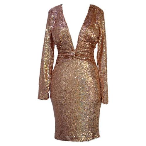 Rose Gold Dress Manik-manik