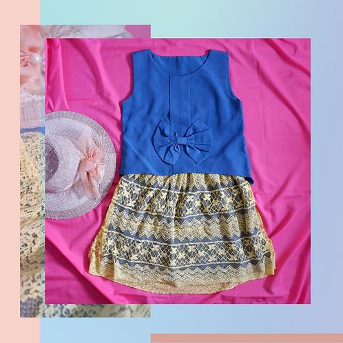 Set Blue Blouse with Pita x Yellow Lace Skirt