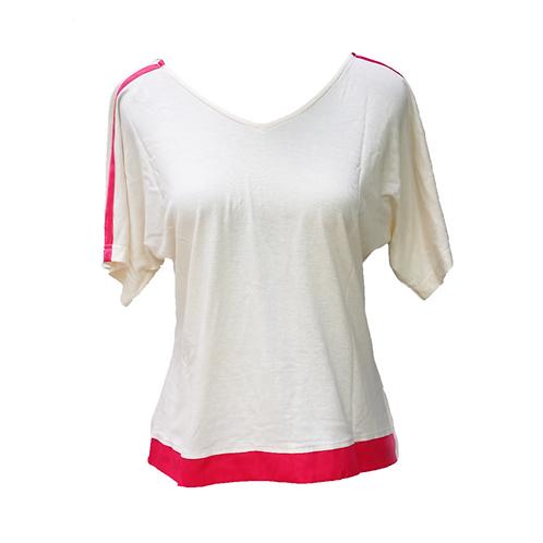 Kaos v-neck putih/pink