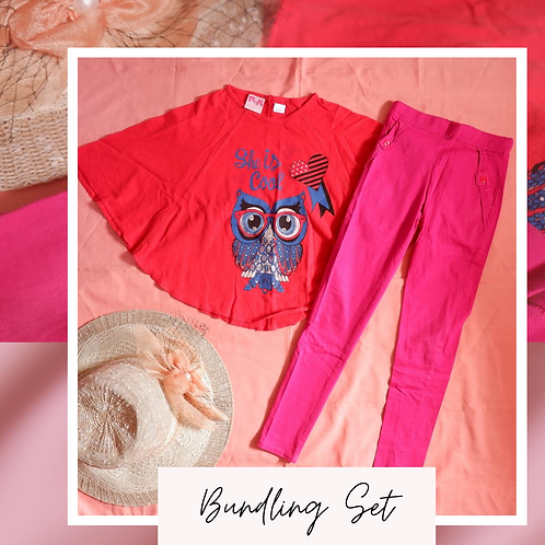 Set PINK Red Batwing Shirt x Pink Cotton Pant