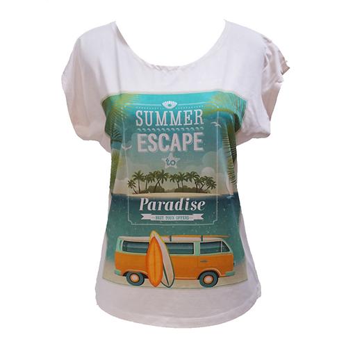 Spandex Shirt Summer Escape - White