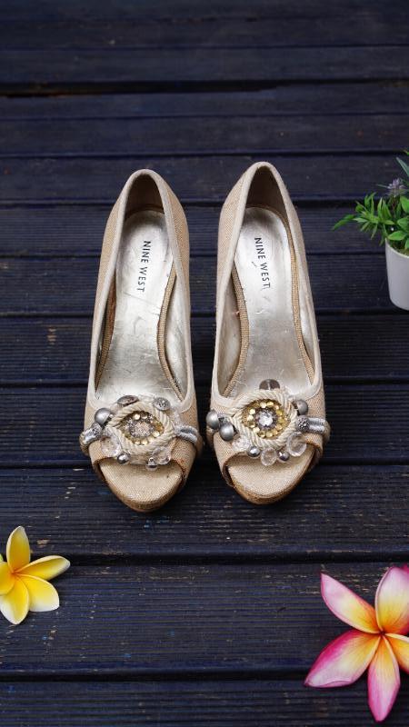 Nine West Gold Heels_7M/37,5