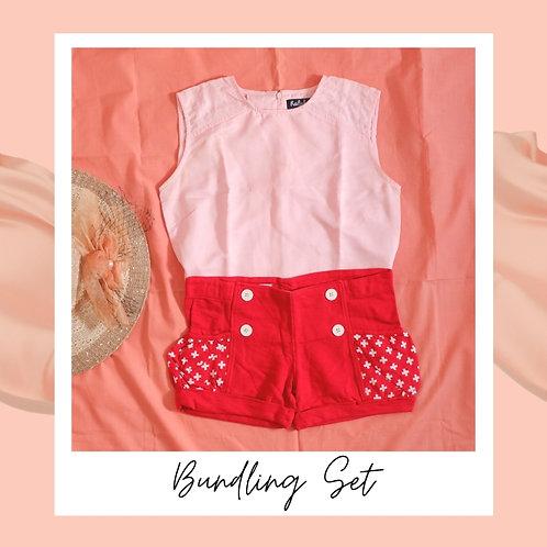 Set Ralyka Pink Cropped Top x Red Shortpant