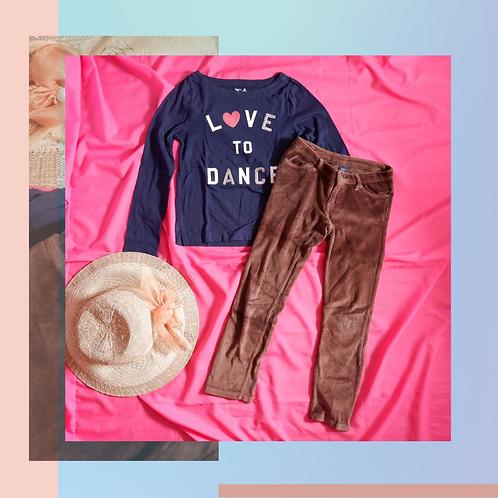 Set Original GapKids Love to Dance Navy Shirt x Beludru Brown Pant