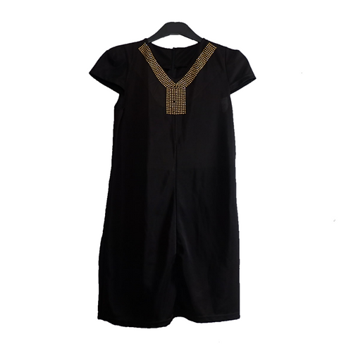 Black Mini Dress with Accent Gold