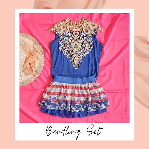 Set Blue Bordir Top x USA Skirt